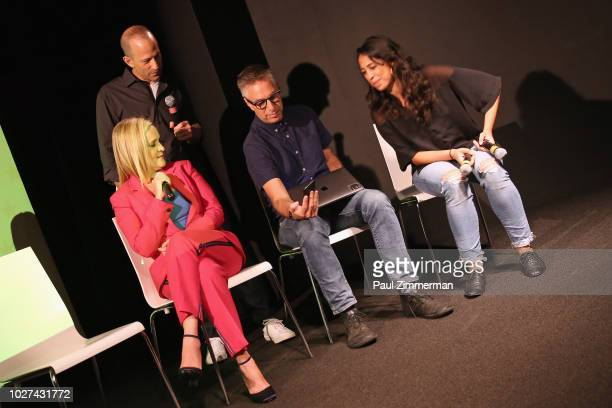 Samantha Bee Michael Rubens Adam Werbach and Razan Ghalayini play This Is Not A Game The Game onstage during the Full Frontal With Samantha Bee...