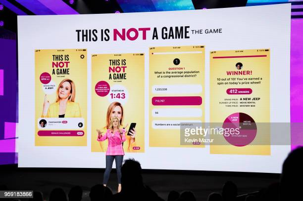 Samantha Bee of TBS's Full Frontal with Samantha Bee speaks onstage during the Turner Upfront 2018 show at The Theater at Madison Square Garden on...