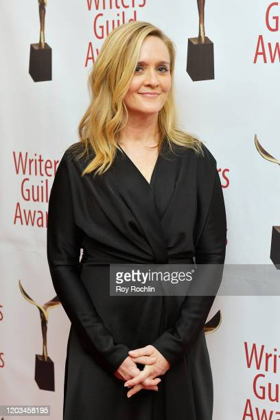 Samantha Bee poses backstage at the 72nd Writers Guild Awards at Edison Ballroom on February 01 2020 in New York City
