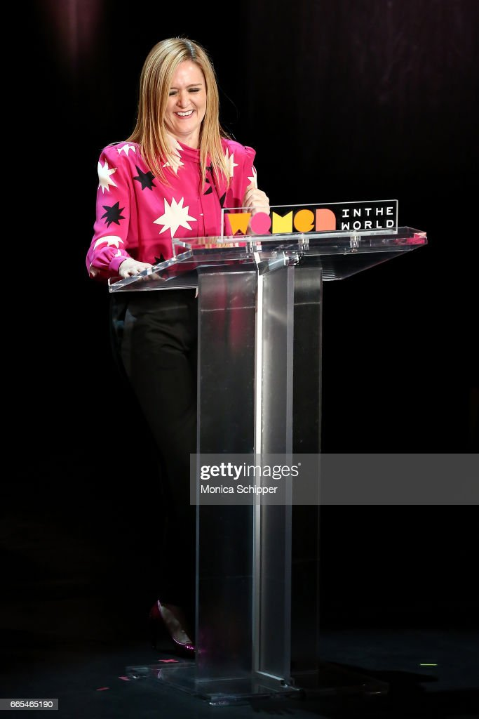 Samantha Bee speaks on stage at the 8th Annual Women In The World Summit at Lincoln Center for the Performing Arts on April 6, 2017 in New York City.