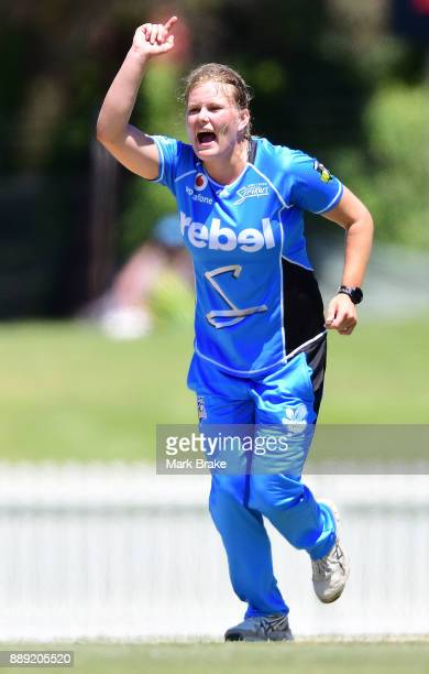Samantha Betts of the Adelaide Strikers celebrates after taking the wicket of Veda Krishnamurthy of the Hobart Hurricanes during the Women's Big Bash...