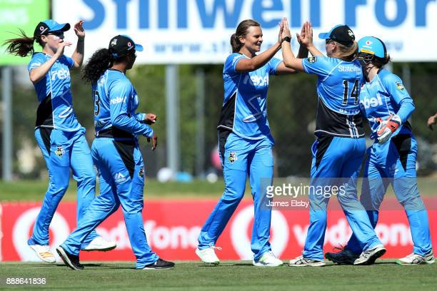 Samantha Betts of the Adelaide Strikers celebrates the wicket of Georgia Redmayne of the Hobart Hurricanes during the Women's Big Bash League WBBL...