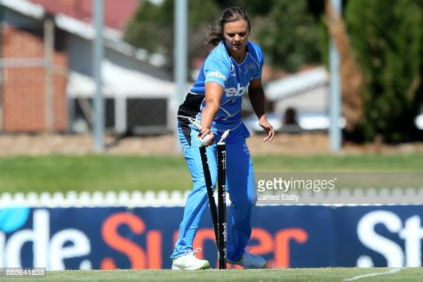 Samantha Betts of the Adelaide Strikers runs out Georgia Redmayne of the Hobart Hurricanes during the Women's Big Bash League WBBL match between the...