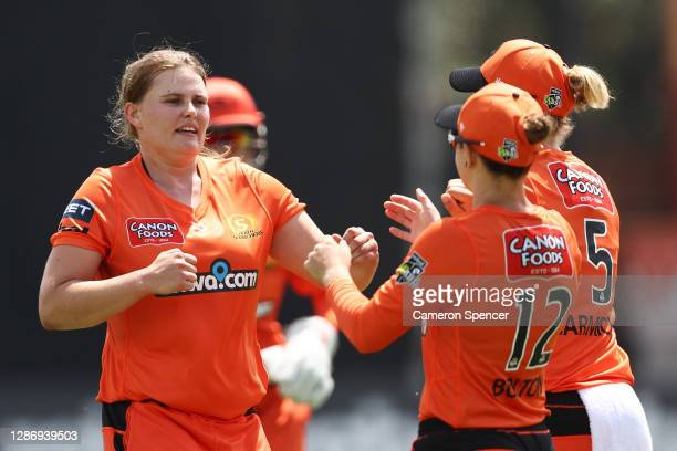 Samantha Betts of the Scorchers celebrates dismissing Laura Wolvaardt of the Strikers during the Women's Big Bash League WBBL match between the Perth...