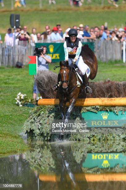 Samantha Birch of Australia riding Hunter Valley II during the obstacle in the water of the Cross Country test DHLPrize in the park of the CHIO of...