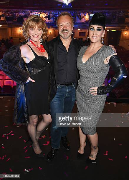 Samantha Bond Graham Norton and Michelle Visage attend 'West End Bares 2016 Excalibare' in support of the Make A Difference Trust at The Novello...