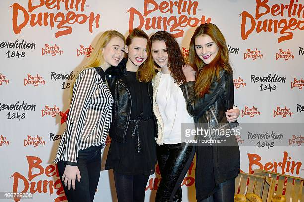 Samantha Brock Anna Wilken Betty Taube and Stefanie Giesinger attend 'Revolution 1848' Show Premiere at Berlin Dungeon on March 18 2015 in Berlin...