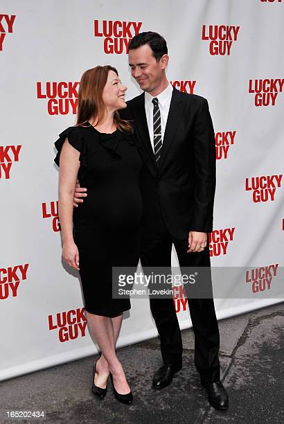Samantha Bryant and actor Colin Hanks attend the Lucky Guy Broadway Opening Night at The Broadhurst Theatre on April 1 2013 in New York City