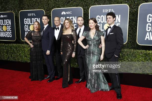 Samantha Bryant Colin Hanks Tom Hanks Rita Wilson Chet Hanks Elizabeth Ann Hanks and Truman Theodore Hanks arriving at the 77th Golden Globe Awards...