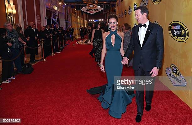 Samantha Busch and her husband NASCAR Sprint Cup Series champion Kyle Busch attend the 2015 NASCAR Sprint Cup Series Awards at Wynn Las Vegas on...