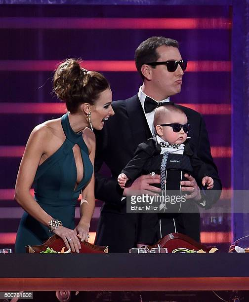 Samantha Busch her husband NASCAR Sprint Cup Series champion Kyle Busch and their son Brexton Busch are introduced at the 2015 NASCAR Sprint Cup...