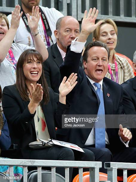 Samantha Cameron and David Cameron watch Great Britain play France during a Paralympic Wheelchair Rugby match on day 8 of the London 2012 Paralympic...