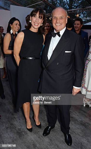 Samantha Cameron and Nicholas Coleridge attend British Vogue's Centenary gala dinner at Kensington Gardens on May 23 2016 in London England