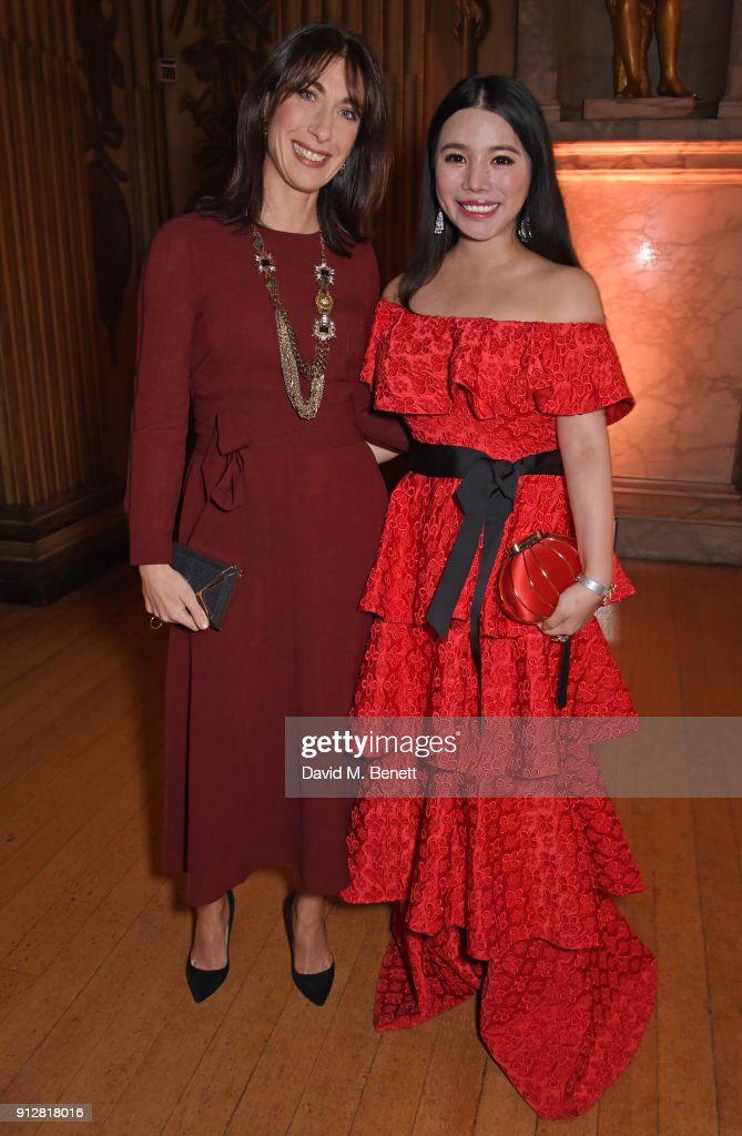 Samantha Cameron (L) and Wendy Yu attend Wendy Yu's Chinese New Year Celebration at Kensington Palace on January 31, 2018 in London, United Kingdom.