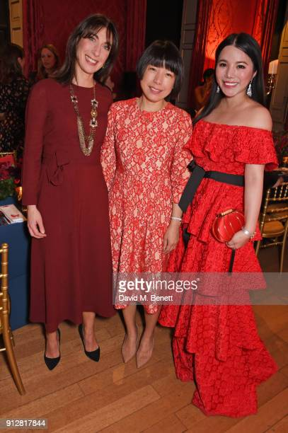 Samantha Cameron Angelica Cheung and Wendy Yu attend Wendy Yu's Chinese New Year Celebration at Kensington Palace on January 31 2018 in London United...