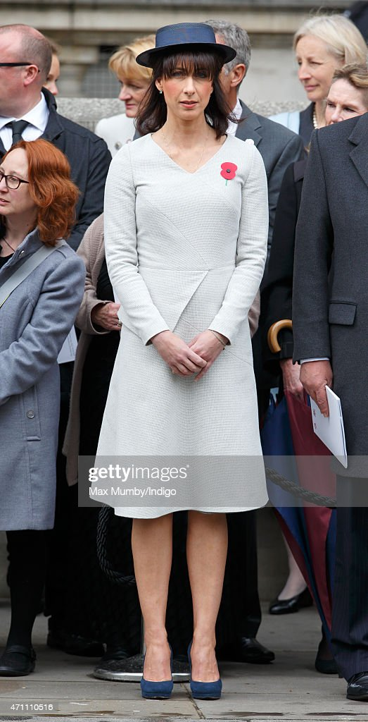 Samantha Cameron attends a wreath-laying ceremony at the Cenotaph to commemorate ANZAC Day and the Centenary of the Gallipoli Campaign on April 25, 2015 in London, England.
