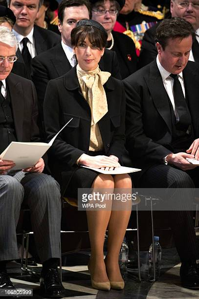 Samantha Cameron attends the funeral of Baroness Margaret Thatcher at St Paul's Cathedral on April 17 2013 in London England Dignitaries from around...