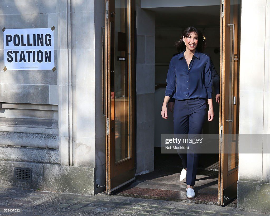 Samantha Cameron casts her vote in the London Mayoral Election on May 05, 2016 in London, England. This is the fifth mayoral election since the position was created in 2000. Previous London Mayors are Ken Livingstone for Labour and more recently Boris Johnson for the Conservatives. The main candidates for 2016 are Sadiq Khan, Labour, Zac Goldsmith , Conservative, Sian Berry, Green, Caroline Pidgeon, Liberal Democrat, George Galloway, Respect, Peter Whittle, UKIP and Sophie Walker, Woman's Equality Party. Results will be declared on Friday 6th May.