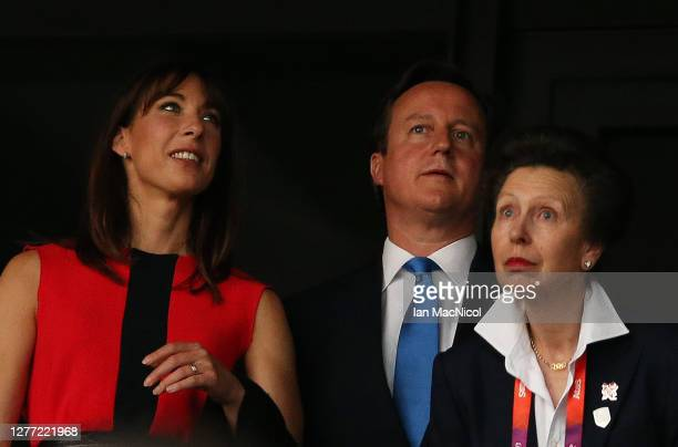 Samantha Cameron, David Cameron and HRH Princess Anne are seen during the Opening Ceremony of the London 2012 Olympic Games, directed by Danny Boyle,...