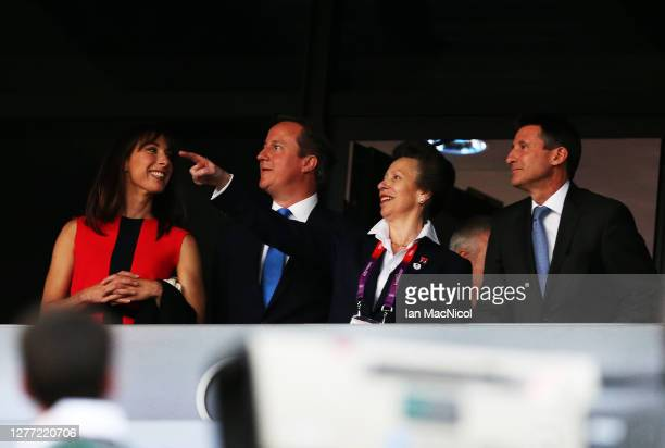 Samantha Cameron, David Cameron , HRH Princess Anne and Seb Coe are seen during the Opening Ceremony of the London 2012 Olympic Games, directed by...