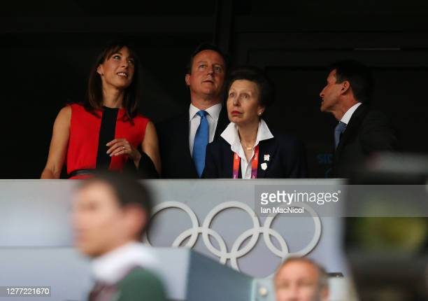 Samantha Cameron, David Cameron, HRH Princess Anne and Seb Coe are seen during the Opening Ceremony of the London 2012 Olympic Games, directed by...
