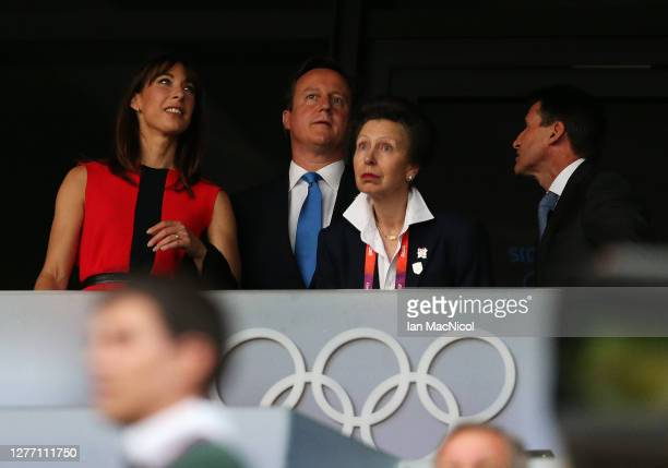 Samantha Cameron, David Cameron, HRH Princess Anne and Seb Coe, attend the Opening Ceremony of the London 2012 Olympic Games at the Olympic Stadium...