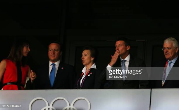 Samantha Cameron, David Cameron, HRH Princess Anne, Seb Coe and John Major, attend the Opening Ceremony of the London 2012 Olympic Games at the...