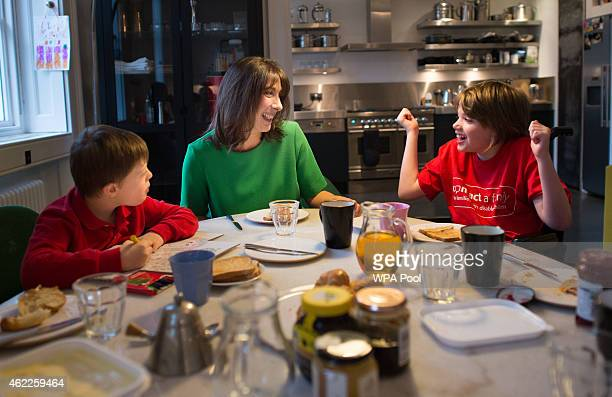 Samantha Cameron hosts a breakfast in her Downing Street apartment with Philip Kiley eight from Chorley in Lancashire and Stevie Tyrie eight from...