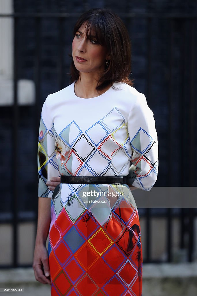 Samantha Cameron listens as her husband British Prime Minister David Cameron resigns on the steps of 10 Downing Street on June 24, 2016 in London, England. The results from the historic EU referendum has now been declared and the United Kingdom has voted to LEAVE the European Union.