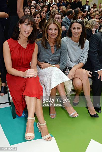 Samantha Cameron Natalie Massenet and Caroline Rush attend the front row at the Burberry Womenswear SS15 show during London Fashion week at...