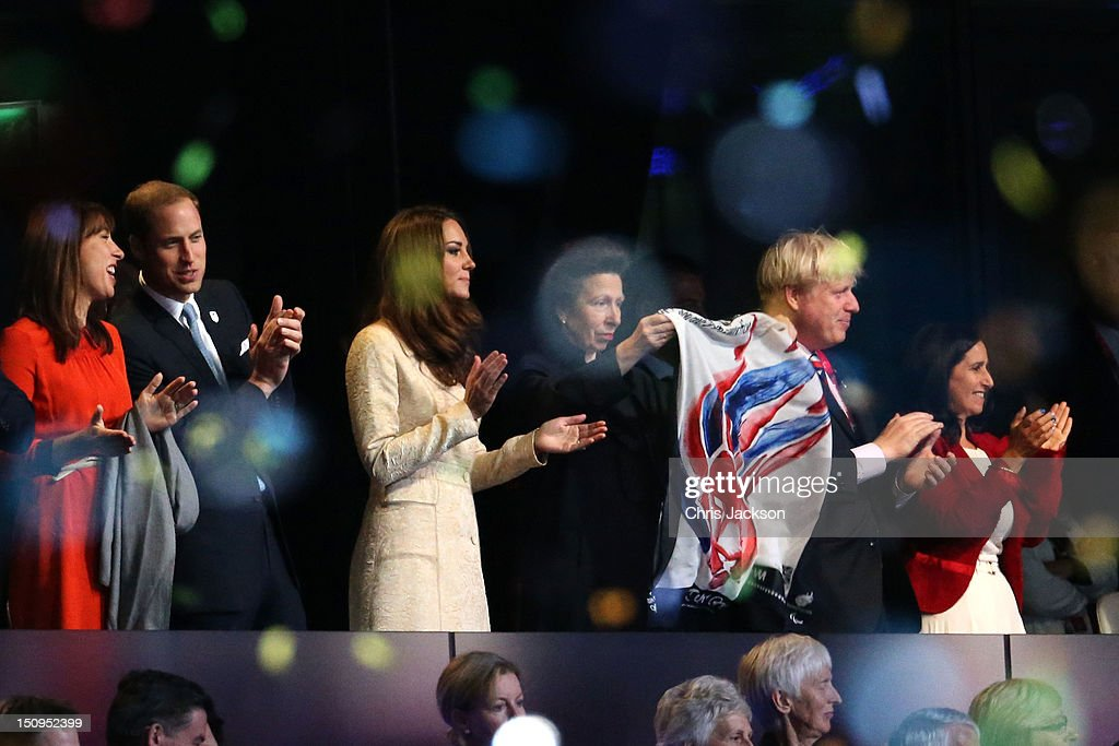 Samantha Cameron, Prince William, Duke of Cambridge and Catherine, Duchess of Cambridge, Princess Anne, Princess Royal and London Mayor Boris Johnson and his wife Marina Wheeler applaud during the Opening Ceremony of the London 2012 Paralympics at the Olympic Stadium on August 29, 2012 in London, England.