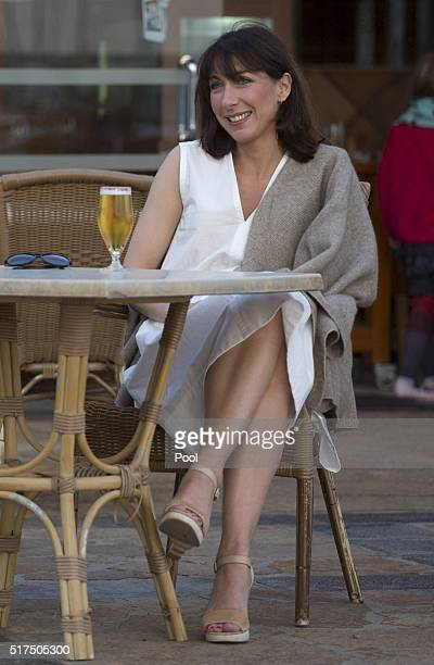 Samantha Cameron, wife of Britain's Prime Minister David Cameron, poses for a photograph during a family holiday on March 25, 2016 in Playa Blanca,...