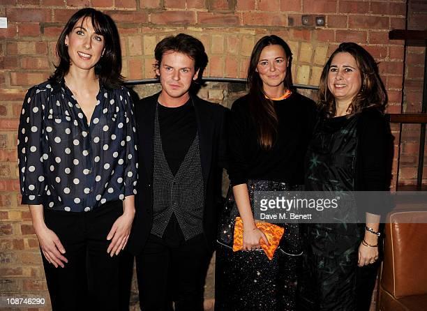 Samantha Cameron Wife of British Prime Minister David Cameron designer Christopher Kane business partner Tammy Kane and Vogue editor Alexandra...