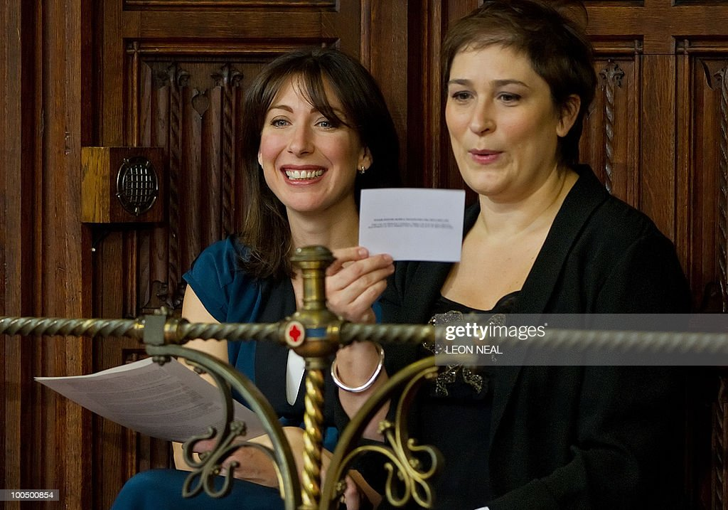 Samantha Cameron (L), wife of British Prime Minister, David Cameron (not pictured), sits in the House of Lords during the State Opening of Parliament in Westminster, central London on May 25, 2010. Britain's Queen Elizabeth II set out the new coalition government's legislative programme on Tuesday in a ceremony of pomp and history following the closest general election for decades. AFP PHOTO/Leon Neal/Pool