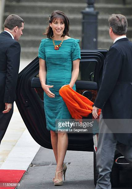 Samantha Cameron wife of Prime Minister David Cameron arrives to attend the Royal Wedding of Prince William to Catherine Middleton at Westminster...