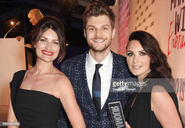 Samantha Chapman and Nicola Chapman of Pixiwoo winners of the Youtubers award pose with their brother Jim Chapman at the Glamour Women of The Year...