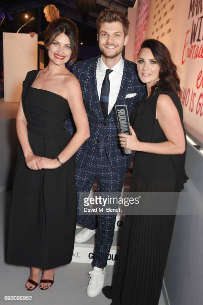 Samantha Chapman and Nicola Haste of Pixiwoo winners of the Youtubers award pose with their brother Jim Chapman at the Glamour Women of The Year...
