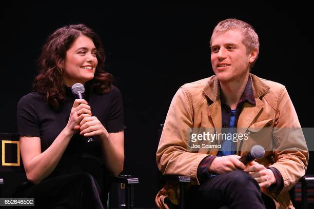 Samantha Colley and Johnny Flynn speak onstage at the Genius Panel at the 'Nat Geo Further Base Camp' during day 3 of SXSW 2017 on March 12 2017 in...