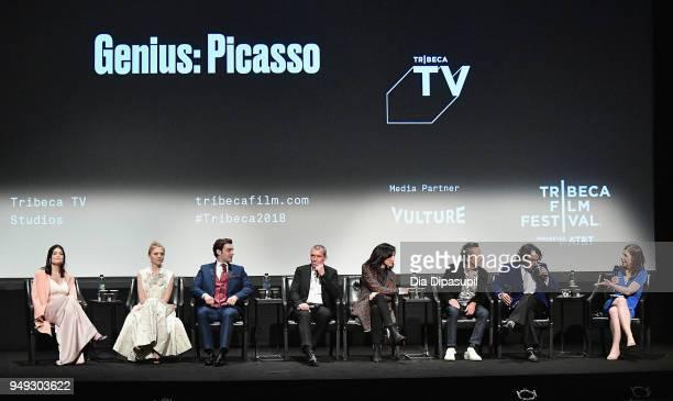 Samantha Colley Clemence Poesy Alex Rich Antonio Banderas Brian Grazer and Ken Biller speak onstage at the 'Genius Picasso' premiere during the 2018...