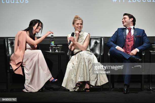 Samantha Colley Clemence Poesy and Alex Rich speak onstage at the 'Genius Picasso' premiere during the 2018 Tribeca Film Festival at BMCC Tribeca PAC...