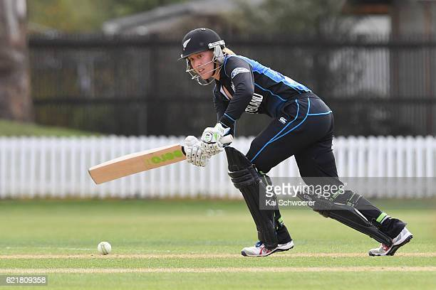 Samantha Curtis of New Zealand bats during the Women's One Day International match between the New Zealand White Ferns and Pakistan on November 9...