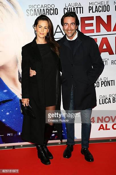 Samantha De Grenet and Luca Barbato walk a red carpet for 'La Cena Di Natale' at Cinema Adriano on November 22 2016 in Rome Italy