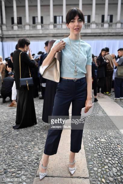 Samantha De Reviziis arrives at the Max Mara show during Milan Fashion Week Spring/Summer 2019 on September 20 2018 in Milan Italy
