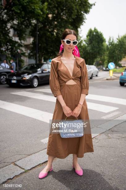 Samantha De Reviziis is seen arriving at the Etro Fashion Show at the Milan Men's Fashion Week Spring/Summer 2021/22 on June 20, 2021 in Milan, Italy.