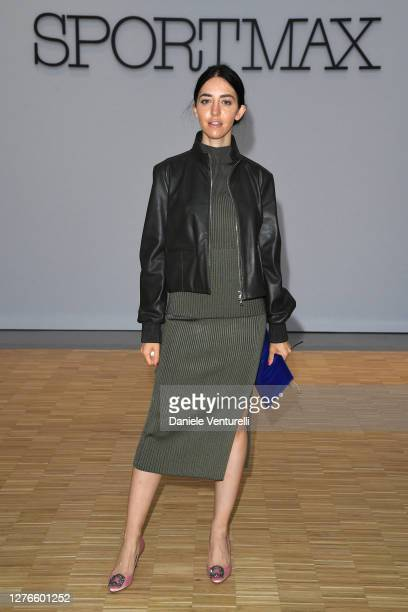 Samantha De Reviziis is seen arriving at the Sportmax fashion show during the Milan Women's Fashion Week on September 25, 2020 in Milan, Italy.