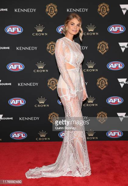 Samantha Dobbs partner of Bradley Hill arrives ahead of the 2019 Brownlow Medal at Crown Palladium on September 23 2019 in Melbourne Australia