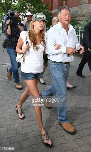 Samantha Druce former girlfriend and Bryan Cousins father of AFL player Ben Cousins depart Curtin House on October 16 2007 in Perth Australia Cousins...