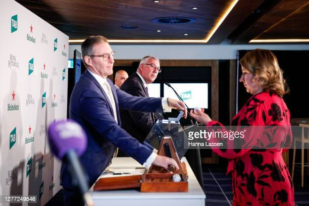 Samantha Dunn Events and Sponsorship Leader Lion during the TAB Epsom Barrier barrier draw at Royal Randwick Racecourse on September 29 2020 in...