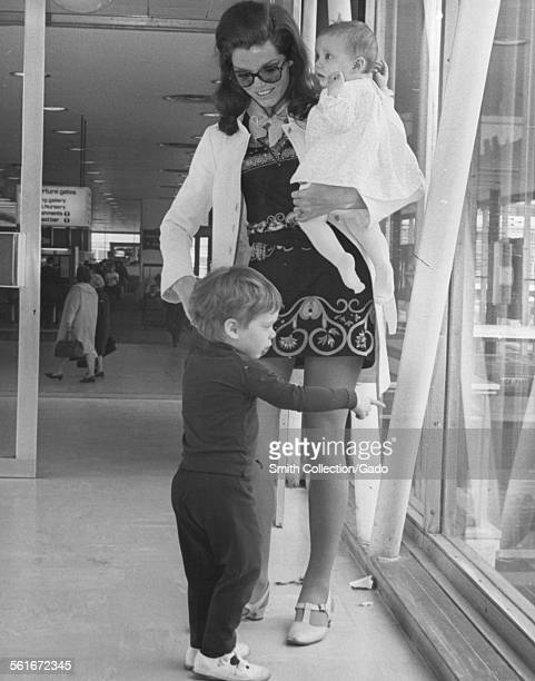 Samantha Eggar a good show business mother with her two children Nicholas Stern 2 1/2 and Jenna Stern 6 months prior to flying to America 1968