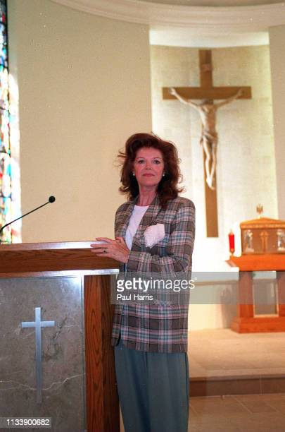 Samantha Eggar February 7 1996 visits a Catholic Church in Bel Air California